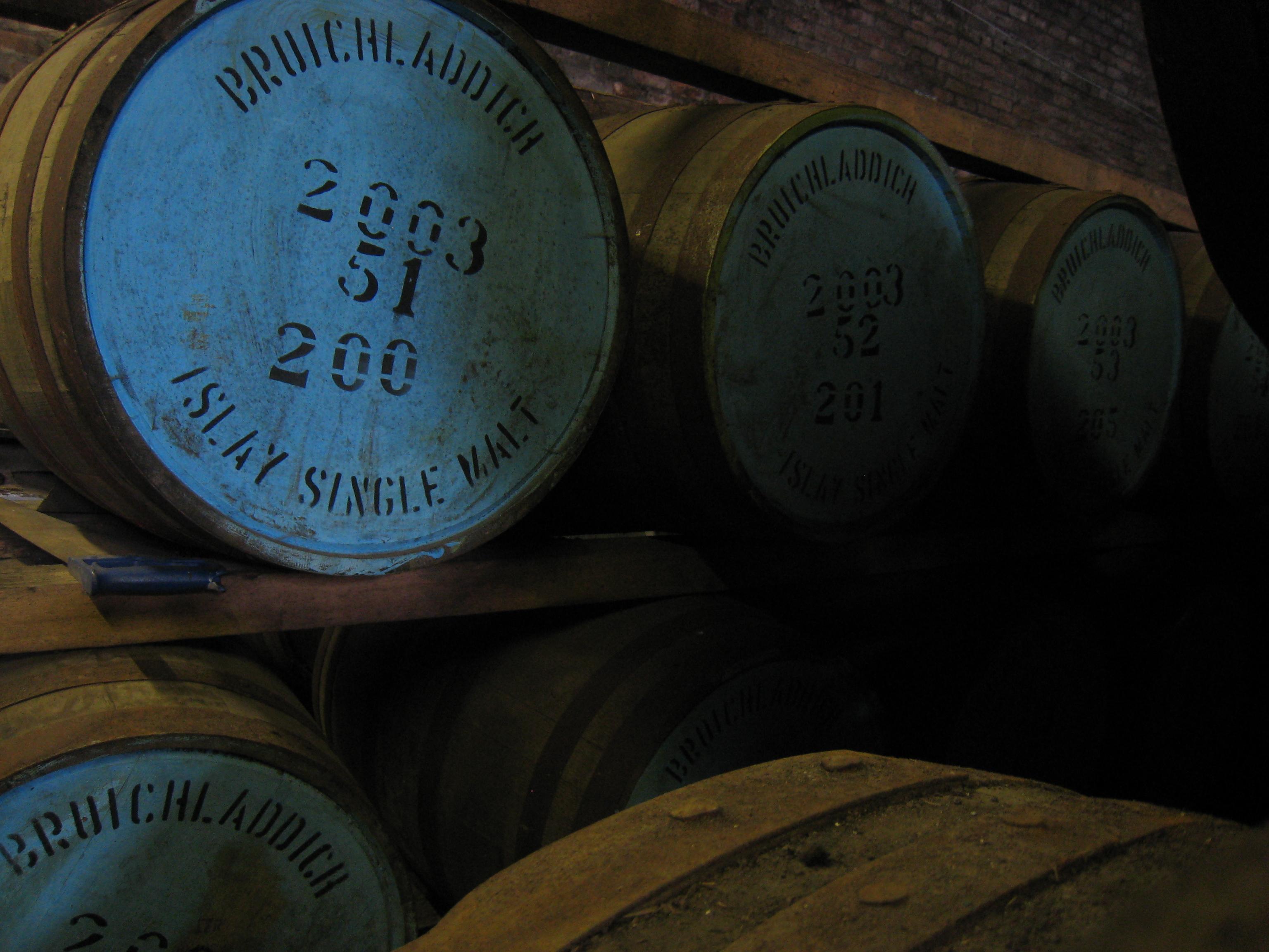 Warehouse full of scotch casks